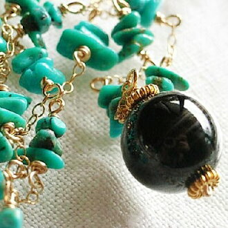 Necklace of Turquoise, agate, K14gf
