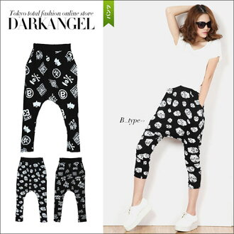 I am selected as dance and yoga wear cool! Whole pattern sarouel pants / Lady's sarouel pants scull pattern sarouel pants skeleton pattern black black individual punk rock easy relaxation DarkAngel/ dark angel