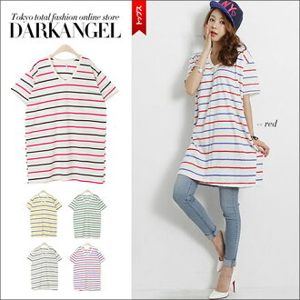 It is simple and is excellent at mix-and-match power! Horizontal stripe short-sleeved tops / Lady's one piece cut-and-sew horizontal stripe casual POPDarkAngel/ dark angel