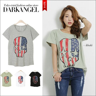 The scull which is POP comes up! American national flag scull short sleeves T-shirt / Lady's scull skeleton POP casual American national flag DarkAngel/ dark angel