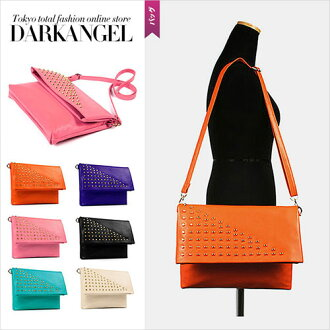 A spicy stylish design! Studs clutch shoulder 2WAY bag / Lady's clutch bag shoulder bag studs 2WAY party DarkAngel/ dark angel
