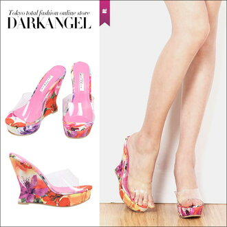 To gorgeous cool footwear! Clear flower pattern wedge sole sandals / Lady's sandals wedge sole sandals flower pattern floral design DarkAngel/ dark angel