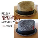 【NEW YORK HAT】即納 ニューヨークハット ミックススティンジー ストローハット 麦わら帽子 MIX STINGY HAT スティンギー 男女 RS2269 プレゼントにも