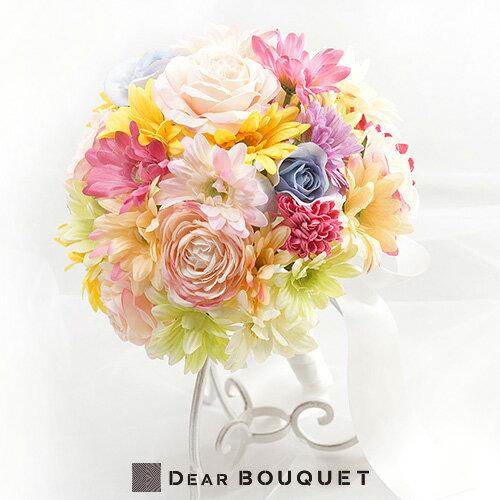 結婚式 ウェディング ブーケ ラウンド型 花束 ブライダル アートフラワー 2次会 お色直し パーティ コンクール 送料無料!アーティフィシャルのラウンドブーケ!結婚式やパーティ・ピアノのコンクール等にオススメ!