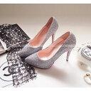 パンプス ポインテッドトゥ グリッター ラメ 黒 ブラック シルバー レディースシューズ ハイヒール 婦人靴 痛くない レッドソール 結婚式 05P03Sep16