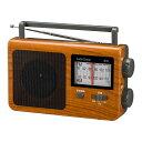 【代引き・同梱不可】OHM AudioComm AM/FMポータブルラジオ 木目調 RAD-T780Z-WK