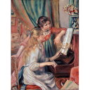 世界の名画シリーズ、プリハード複製画 ピエール・オーギュスト・ルノアール作 「ピアノに寄る娘達」【代引不可】【日時指定不可】