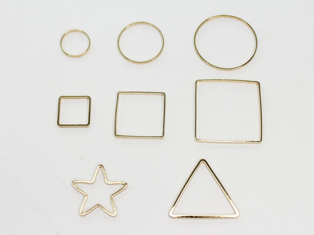 [金属チャーム] 幾何学型フレーム パーツ/レジン枠に