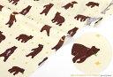 生地・布・入園入学≪ WALK THROUGH THE FOREST- grizzly bear ≫コットン/幅110cmデコレクションズオリジナル生地・布【10cm単位販売】【メール便OK】【男の子】【動物】【ナチュラル】【北欧】【黄色】キッズ│くま|クマ|熊