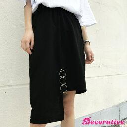 アシメ丈デザインと3連リングがモードでトレンド感溢れるブラックカラーのスカート 原宿系 ファッション レディース ゆめかわいい 服 奇抜 派手 個性的 ダンス 衣装 コスチューム ヒップホップ 韓国 大きいサイズ 170623