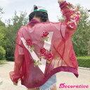 オーガンジー素材で仕上げたバックローズプリントのビッグシルエットジップアップブルゾン 原宿系 ファッション レディース ゆめかわいい 服 奇抜 派手 個性的 ダンス 衣装 コスチューム ヒップホップ 韓国 大きいサイズ 170714