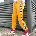 【即納あり】PLEASE刺繍&ブロックチェックサイド切り替えのジャージトラックパンツ 原宿系 ファッション レディース ゆめかわいい 服 ..