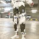 カモフラージュ柄プリントとロゴ刺繍のコットブレンドカーゴパンツ 原宿系 ファッション レディース ゆめかわいい 服 奇抜 派手 個性的 ダンス 衣装 コスチューム ヒップホップ 韓国 大きいサイズ 190129