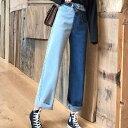 【即納あり】ライトブルー&インディゴカラーのハイブリッドなカットオフデニムパンツ/ジーンズ 原宿系 ファッション レディース ゆめかわいい 服 奇抜 派手 個性的 ダンス 衣装 コスチューム ヒップホップ 韓国 大きいサイズ