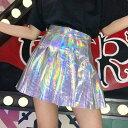 【即納あり】ミニスカート プリーツ ハイウエスト オーロラカラー キラキラ シルバー ピンク ダンス 衣装 ヒップホップ コスチューム 韓国ファッション 大きいサイズ 個性的 服 原宿系
