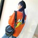 【即納あり】熱帯魚バックプリントとオレンジカラーが注目を集めるビッグシルエットTシャツ 原宿系 ファッション レディース ゆめかわ..