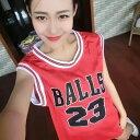 【即納あり】ダンス 衣装 ヒップホップ タンクトップ バスケット メッシュ ナンバーロゴプリント ノースリーブ レッド ブラック ホワイト
