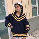女装 - ニットセーター ビッグシルエット ルーズスリーブ ピンク ネイビー レディース ファッション 大きいサイズ 青文字系 古着系 古着ミックス ナチュラル ベーシック