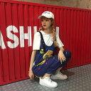 ショッピング衣装 サロペット マンガプリント 手書き風 レディース ファッション 大きいサイズ ダンス 衣装 ヒップホップ 原宿系 韓国系 個性的