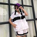ショッピング原 セットアップ スポーツウェア ワイドパンツ ノースリジャケット レディース ファッション 大きいサイズ ダンス 衣装 ヒップホップ 原宿系 韓国系 個性的