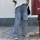 デニム ジーンズ ワイドデニム ダメージ加工 レディース ファッション 大きいサイズ ダンス 衣装 ヒップホップ 原宿系 韓国系 個性的