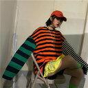 ショッピング衣装 トップス カットソー 長袖Tシャツ ラグランTシャツ ボーダー オーバーシルエット レディース ファッション 大きいサイズ ダンス 衣装 ヒップホップ 原宿系 韓国系 個性的