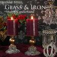 可愛らしくシャビー アイアンとガラスのキャンドルホルダー キャンドルスタンド 雑貨 ゴールド アンティーク風 アンティーク かわいい 北欧 おしゃれ 燭台 ゴールド