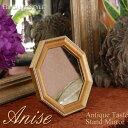 Anise アニス ゴールドオクタゴンミラー 八角鏡 ヴィンテージ アンティーク風 アンティーク 八角 壁掛け 卓上 両用 スタンド 雑貨 骨董 金 ゴールド