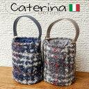 ショッピングバケツ 【セール】イタリア製 ハンドバッグ バケツ型バッグ 円柱 モヘア チェック柄バケツ型とモヘア素材のチェックが素敵なバッグ