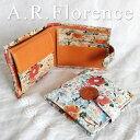 【あす楽】【イタリア・フィレンツェ】A.R.Florence(A.R.フローレンス)フラワー 2つ折り財布【牛革/花柄】