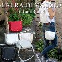 【セール50%OFF】イタリア製 ショルダーバッグ ローラディマッジオ LAURA DI MAGGIO スタッズ付ポシェット ショルダーバッグ