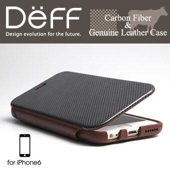 【Deff直営ストア】CarbonFiber&GenuineLeatherCaseforiPhone6リアルカーボンと本革を組み合わたフリップタイプケース【ご予約受付中2月下旬発売予定】