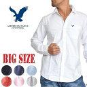 アメリカンイーグル 長袖 ワンポイント オックスフォードシャツ 大きいサイズ メンズ