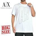 アルマーニエクスチェンジ A/X ARMANI EXCHANGE ロゴプリント クルーネック 半袖Tシャツ LOOSE FIT 白 XL XXL 大きいサイズ メンズ [M便 1/1]