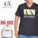 アルマーニエクスチェンジ A/X ARMANI EXCHANGE ロゴプリント Vネック 半袖Tシャツ SLIM FIT 白 黒 ブラック ホワイト XL XXL 大きいサイズ メンズ [M便 1/1]