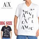 アルマーニエクスチェンジ A/X ARMANI EXCHANGE ロゴプリント Vネック 半袖Tシャツ REGULAR FIT 黒 白 XL XXL 大きいサイズ メンズ [M便 1/1]