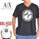 ショッピングアルマーニ アルマーニエクスチェンジ A/X ARMANI EXCHANGE ロゴプリント Vネック 半袖Tシャツ REGULAR FIT 黒 ブラック XL XXL 大きいサイズ メンズ [M便 1/1]