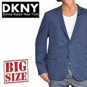 DKNY ダナキャランニューヨーク 2B ボタン テーラードジャケット ニット アウター ブルゾン ネイビー 紺色 XL XXL 大きいサイズ メンズ あす楽