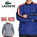 大きいサイズ メンズ ラコステ LACOSTE ニット セーター ウール 袖ライン クルーネック XL XXL XXXL XXXXL