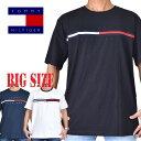 TOMMY HILFIGER トミーヒルフィガー ロゴ刺繍 半袖Tシャツ XL XXL XXXL 大きいサイズ メンズ あす楽