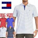 ショッピングTOMMY トミーヒルフィガー TOMMY HILFIGER 半袖 ポロシャツ ワンポイント刺繍 ボーダー XL XXL 大きいサイズ メンズ あす楽