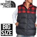 大きいサイズ メンズ ノースフェイス THE NORTH FACE ダウンベスト ワンポイント刺繍 チェック切り替えし XL XXL