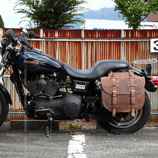 バイク ハーレー アメリカン サドルバッグ サイドバッグ 本革 レザー バイカーズ 牛革 堅牢 鉄馬 可変容量 DEGNER デグナー SB-64IN(ブラウン) 送料無料