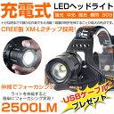 【即納】2500ルーメン ヘッドライト LED ズーム式 懐中電灯 軽量 米国 CREE製 XM-L2 充電式 LEDヘッドライト 登山 富士山 キャンプ 夜釣...