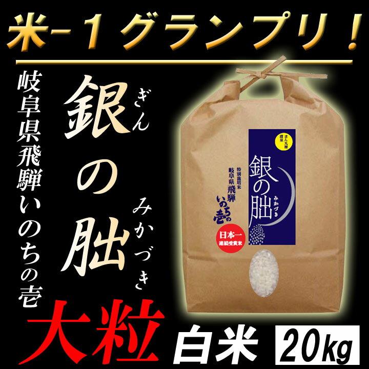 【白米】 岐阜産 銀の朏(ぎんのみかづき) いのちの壱 お米20kg 大粒 日本一のお米に選ばれました!