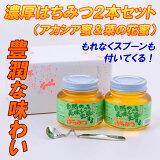 長野産 濃厚 卓上 はちみつ 450g×2本入り (アカシア蜜&菜の花蜜) 蜂蜜スプーン付