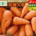 【有機JAS】無農薬にんじん 10kg 訳あり 青森産 ジュース用人参 規格外品(B品)送