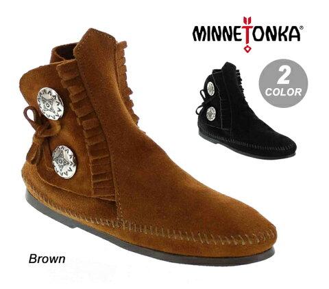 MINNETONKAミネトンカ【442/449】TWO BUTTON BOOT HARD SOLEツーボタン ブーツ