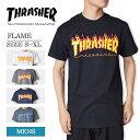 【メール便】THRASHERスラッシャー【FLAME】Black White Charcoal Navy DarkHeatherフレイムメンズ 半袖 Tシャツ