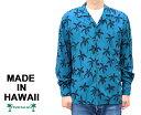 TWO PALMS トゥーパームス 長袖 アロハシャツ パームツリー ハワイ製 レーヨン 青 ブルー 「Palm Tree L/S」